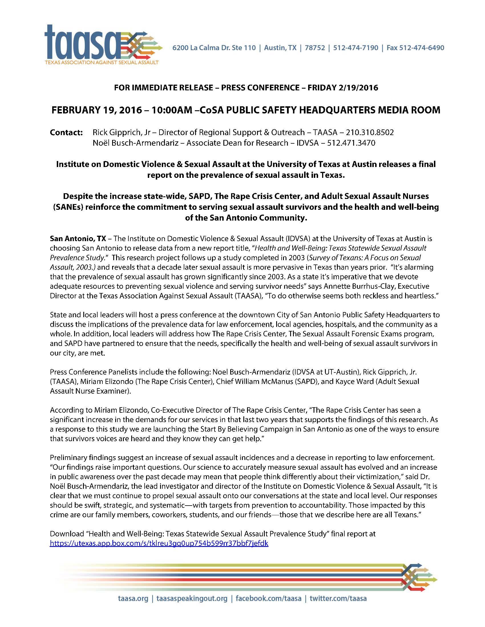 Press Release – IDVSA_TAASA_Page_1 – http://taasa org